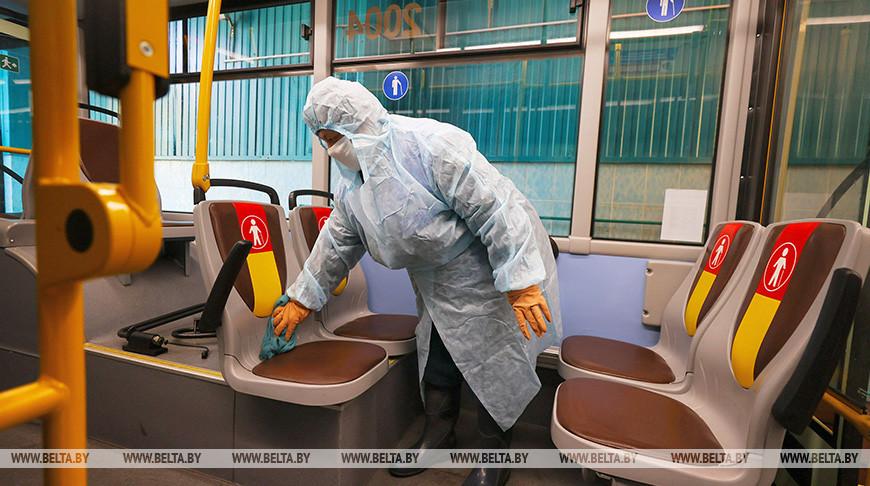 Дезинфекция общественного транспорта в троллейбусном парке №2 Минска