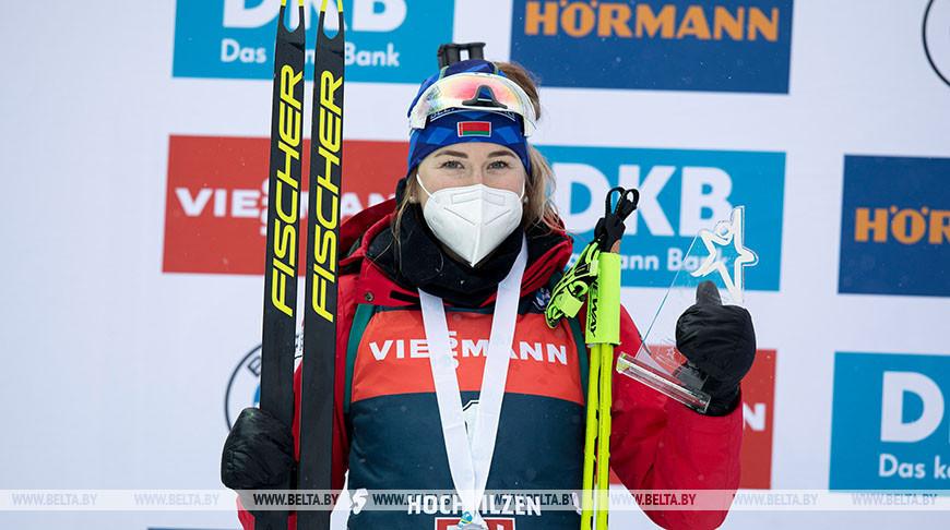 Динара Алимбекова поднялась на второе место в общем зачете Кубка мира по биатлону