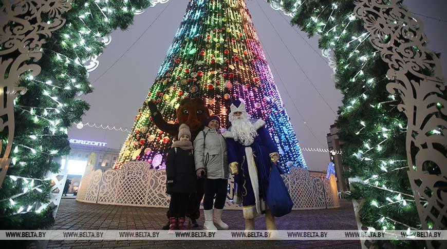 В Минске зажгли огни новогодних елей и включили праздничную иллюминацию