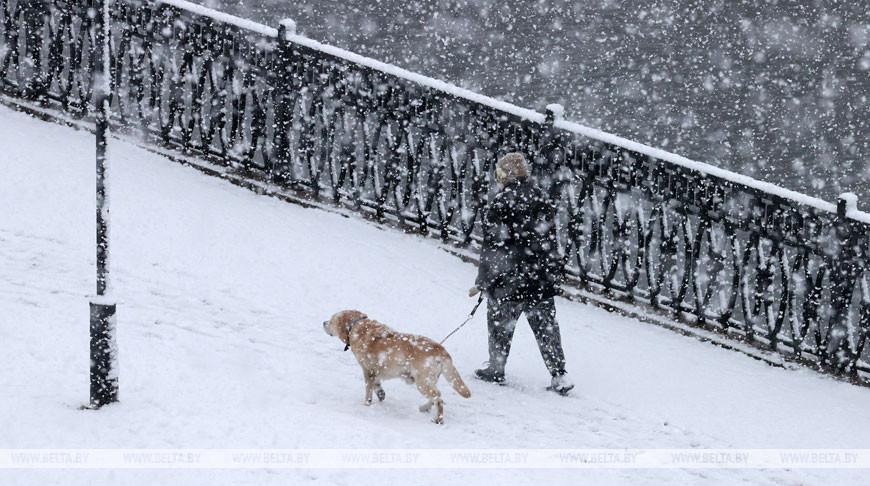 Сильный снег выпал в Могилеве