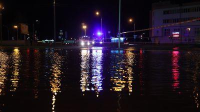 Прорыв водопроводной трубы в Минске на улице Уборевича