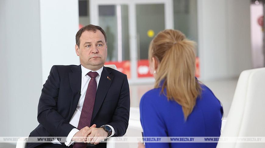 Головченко дал интервью Белтелерадиокомпании