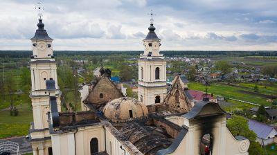 В Будславском костеле ликвидируют последствия пожара