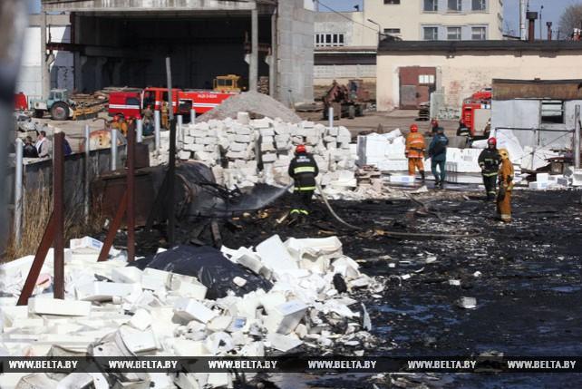 Пожар в районе телезавода в Витебске: горел отработанный пенопласт