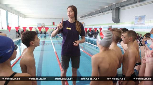 Герасименя провела мастер-класс для юных могилевских пловцов