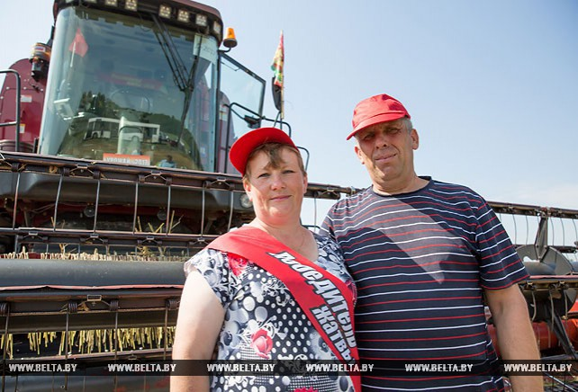 Семейный экипаж из Каменецкого района первым в Брестской области намолотил 1 тыс. т зерна