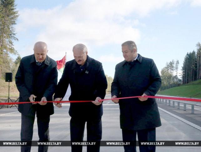 Лукашенко на открытии участка второй минской кольцевой автодороги (МКАД-2)