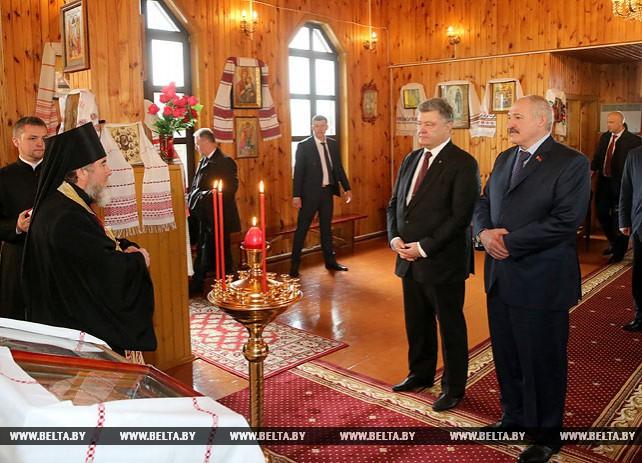 Президенты Беларуси и Украины посетили Свято-Михайловский храм в Лясковичах