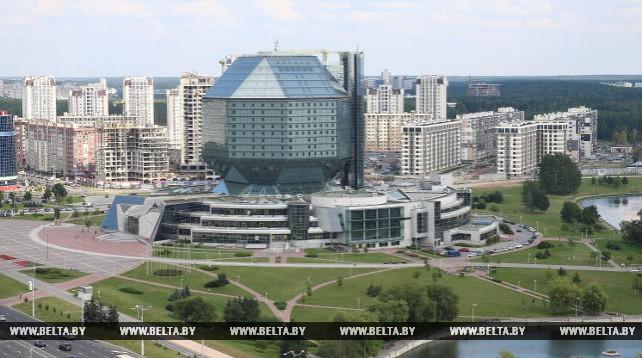Вид на Минск с бизнес центра Александров Пассаж