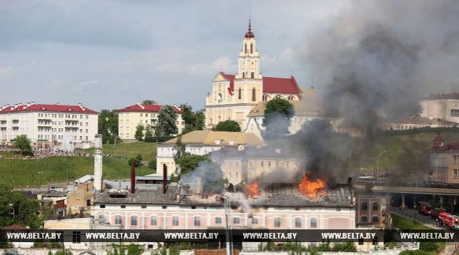 В центре Гродно горело здание бывшего пивзавода