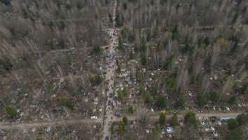 Чижовское кладбище на Радоницу с высоты