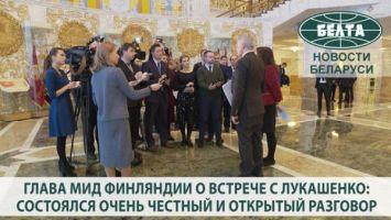 Глава МИД Финляндии о встрече с Лукашенко: состоялся очень честный и открытый разговор