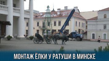 Монтаж елки у ратуши в Минске