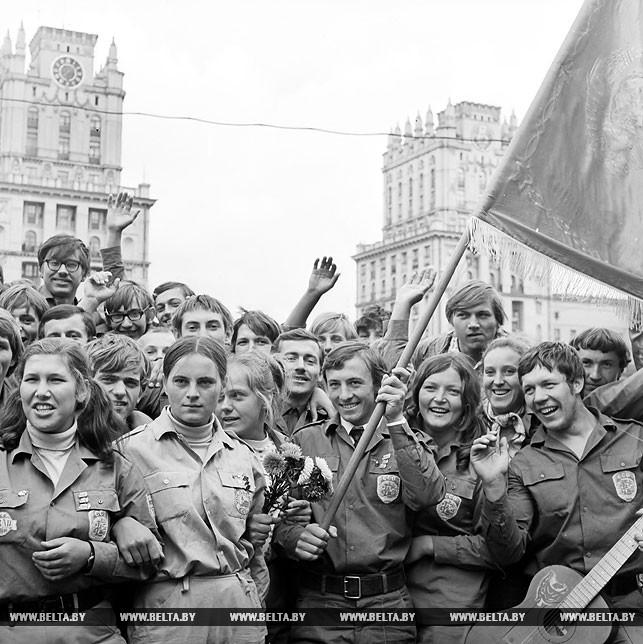 Строительный отряд БГУ на Привокзальной площади. Минск, 1972 год
