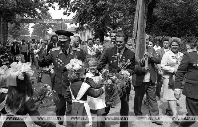 Втреча бывших партизан бригады имени Рокоссовского в п.Воропаево Поставского района, 1979 г.