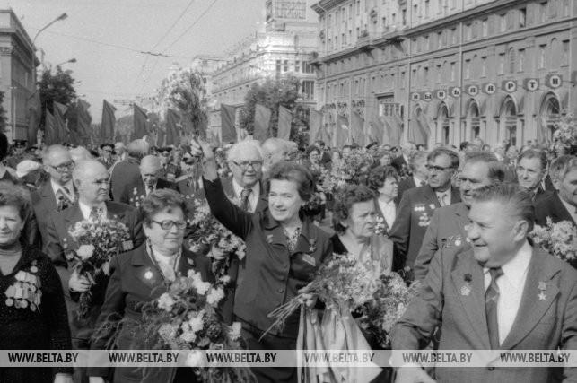 Шествие ветеранов Великой Отечественной войны по Ленинскому проспекту, 1984 г.