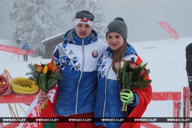 Серебряные призеры в спринте (биатлон) Павел Белько и Дарья Кудаева