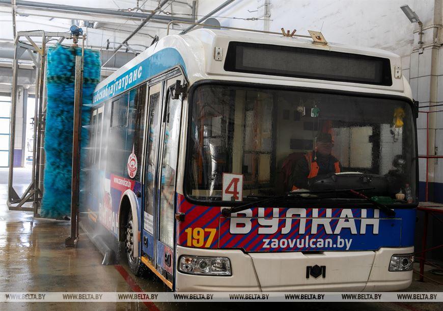 Мойка троллейбуса после смены