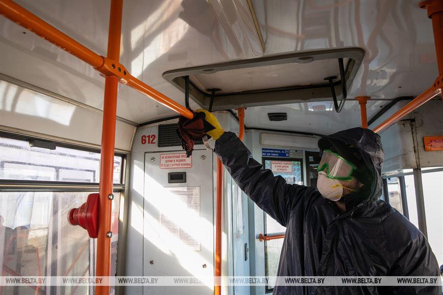 Во время дезинфекции и уборки трамвая